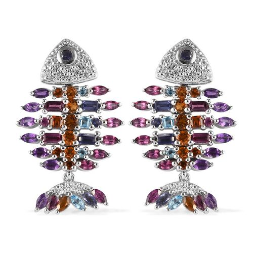 Sundays Child - Amethyst, Rhodolite Garnet and Multi Gemstone Fish Design Earrings  (with Push Back)