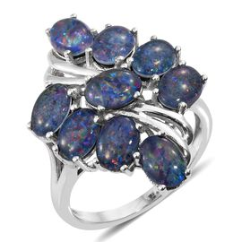 Australian Boulder Opal (Ovl) Ring in Platinum Overlay Sterling Silver.