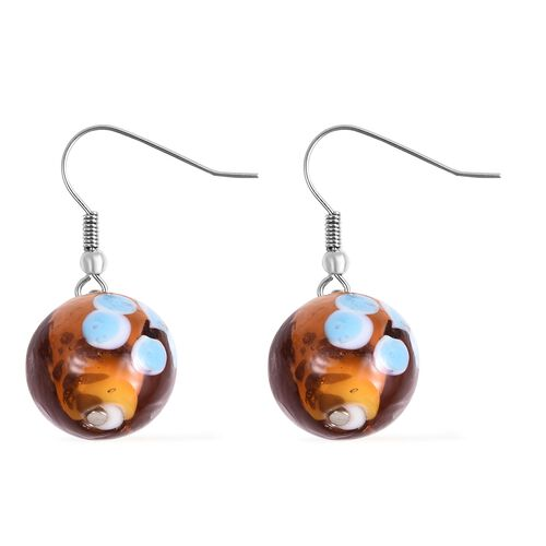 Brown Colour Murano Glass Drop Hook Earrings in Stainless Steel