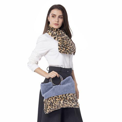 Leopard Skin Pattern Faux Fur Handbag (Size 34x30 Cm) and Scarf (Size 10x92Cm)