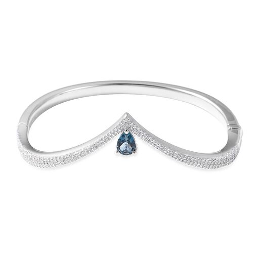 Isabella Liu - Twilight Collection - London Blue Topaz (Pear), Natural White Cambodian Zircon Chevron Bangle (Size 6.75) in Rhodium Overlay Sterling Silver Silver Wt 21.00 Grams