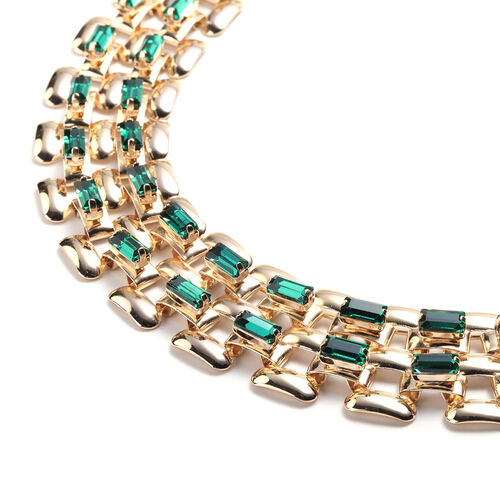 Designer Inspired- Green Crystal- Panther Link Necklace (Size 20) in Gold Tone