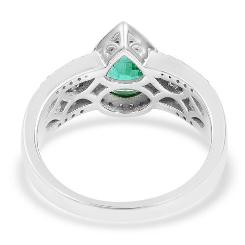 ILIANA 18K White Gold AAAA Boyaca Colombian Emerald (Pear 1.150 Ct) Diamond (SI/G-H) Ring 1.580  Ct, Gold wt 7.00 Gms.