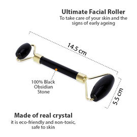 Black Obsidian Facial Roller (Double) (Size 14.5x5.5 Cm) - Black and Golden Colour