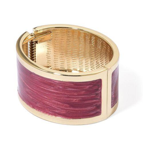 Designer Inspired - Simulated Diamond Fuchisa Colour Enameled Bangle (Size 6.5) in Gold Tone