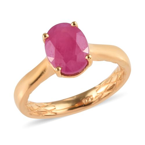 Ilakaka Pink Sapphire Solitaire Ring in Gold  Plated Sterling Silver 2.75 Ct