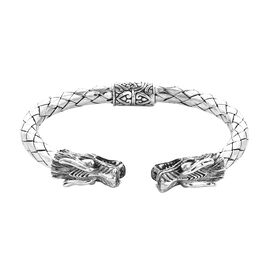 Royal Bali Double Dragon Head Cuff Bangle in Sterling Silver 35.80 Grams