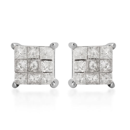 New York Close Out 0.50 Ct Diamond I1 I2 GH Earrings in 9K White Gold