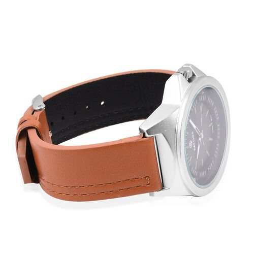 STRADA Japanese Movement Water Resistant Silver Plated Watch with Black Dial and Camel Colour Strap.