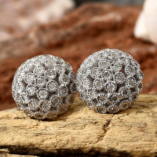 Diamond (Rnd) Dome Earrings (with Push Back) in Platinum Overlay Sterling Silver 0.330 Ct.