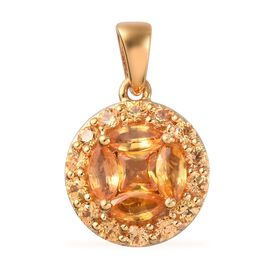 Yellow Sapphire Pendant in 14K Gold Overlay Sterling Silver 1.50 Ct.