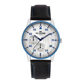 Ben Sherman London Men Silver Dial Daltrey Sport Watch with Buckle Closure and Black Leather Strap