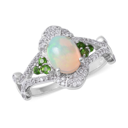 Ethiopian Welo Opal (Ovl), Natural Cambodian White Zircon and Russian Diopside Ring in Rhodium Overlay Sterling Silver 2.700 Ct.
