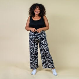 TAMSY Miss Collection Batwing Pattern Trousers (M/L,10-18) - Black