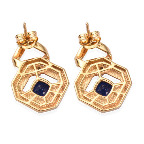 Blue Spinel and Natural Cambodian Zircon Earrings (with Push Back) in 14K Gold Overlay Sterling Silver 2.25 Ct, Silver wt 5.52 Gms