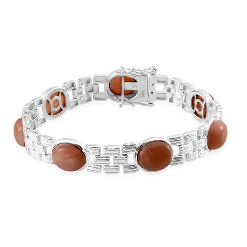 Morogoro Peach Sunstone (Ovl) Bracelet (Size 7.5) in Platinum Overlay Sterling Silver 26.000 Ct.