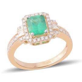 ILIANA 18K Yellow Gold Boyaca Colombian Emerald and Diamond  Ring 1.830 Ct.