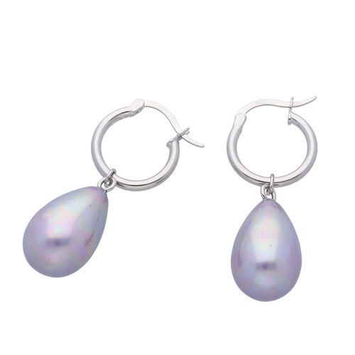 Purple Shell Pearl Earrings (with Clasp) in Rhodium Overlay Sterling Silver