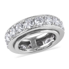 Simulated Diamond (Rnd) Full Eternity Band Ring in Platinum Plated