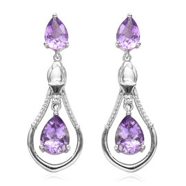 Moroccan Amethyst and Natural Cambodian Zircon Dangle Earrings (with Push Back) in Platinum Overlay