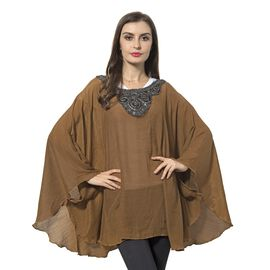 Camel Colour Poncho with Floral Collar (Size 136x78 Cm)