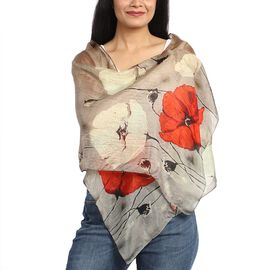 100% Mulberry Silk Grey and Red Poppy Print Scarf (180x50cm)