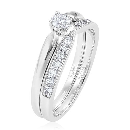 ILIANA 18K White Gold IGI Certified 0.50 Carat Diamond SI G-H Bridal Ring Set
