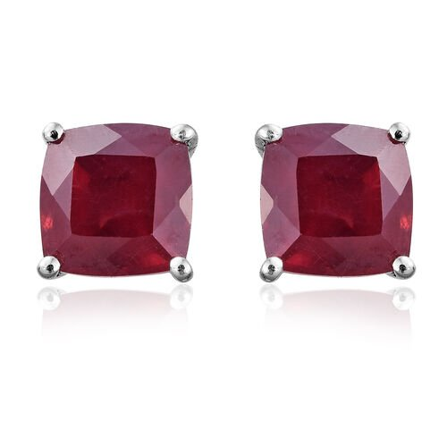 9K White Gold AA African Ruby (Cush) Stud Earrings (with Push Back) 2.750 Ct.