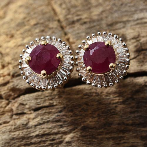 ILIANA 18 Yellow Gold AAA Burmese Ruby (Rnd 1.25 Ct) and Diamond Earrings (with Screw Back) 1.500 Ct