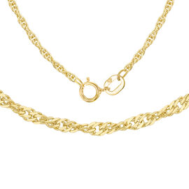 ILIANA 18K Yellow Gold Twisted Curb Chain (Size 16), Gold wt 1.10 Gms