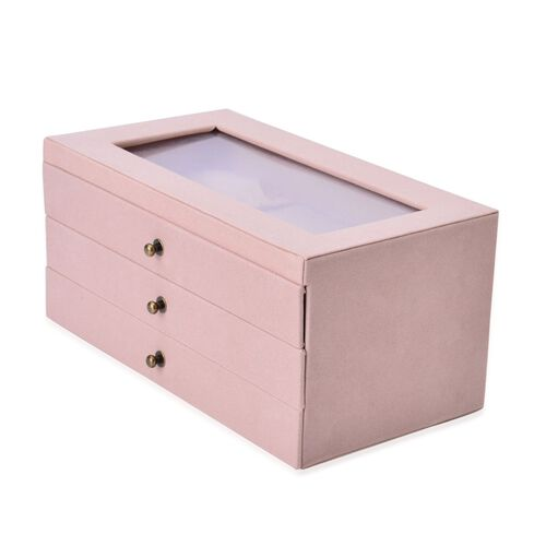 Beige Colour 3 Drawer Jewellery Box (Size 29x16x14 Cm)