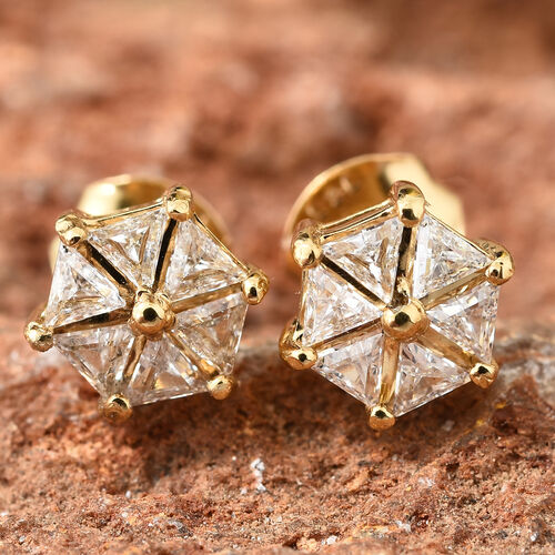 J Francis - 14K Gold Overlay Sterling Silver Floral Stud Earrings (With Push Back) Made With Swarovski Zirconia