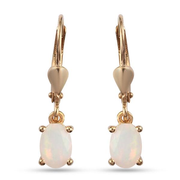 1 Carat AA Ethiopian Welo Opal Solitaire Drop Earrings in 14K Gold Plated Silver