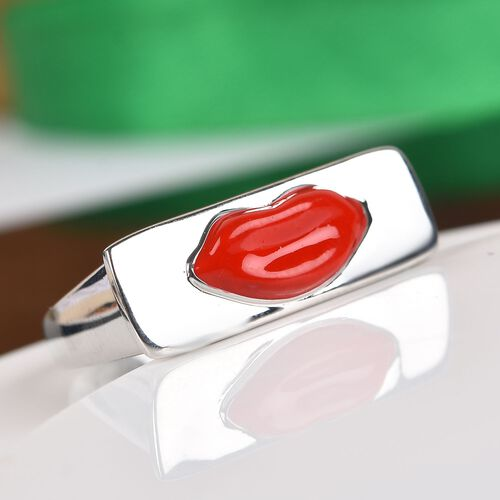GP - Blue Sapphire Enamelled Lips Ring in Platinum Overlay Sterling Silver, Silver wt 6.16 Gms