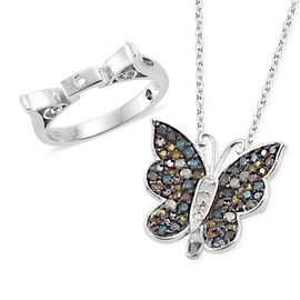 GP Multi Colour Diamond (Rnd), Kanchanaburi Blue Sapphire Butterfly Pendant with Chain (Size 18) and Ring in Platinum Overlay Sterling Silver 1.030 Ct., Silver wt 7.47 Gms.