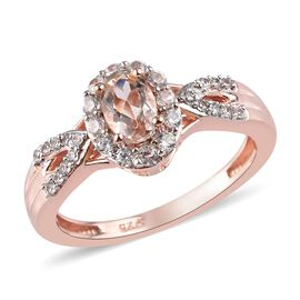 1 Carat Marropino Morganite and Zircon Halo Ring in Rose Gold Plated Sterling Silver