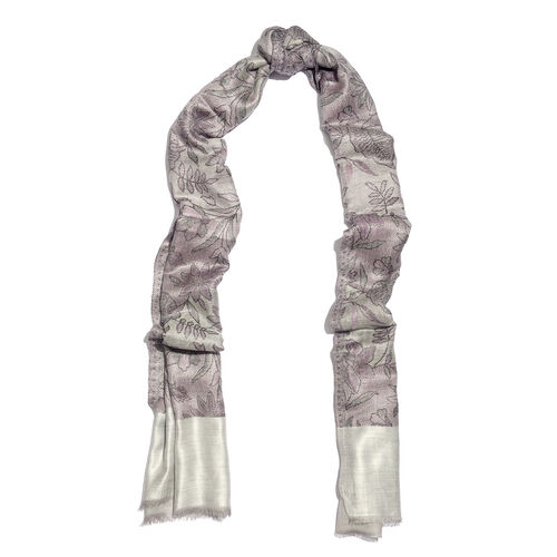 100% Modal Reversible Grey, Off White and Multi Colour Flower and Leaves Pattern Jacquard Scarf (Size 190x70 Cm)