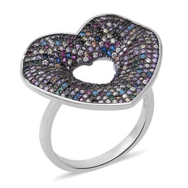 ELANZA Multi Colour Simulated Diamond Heart Ring in Rhodium and Black Plated Silver 5.10 Grams