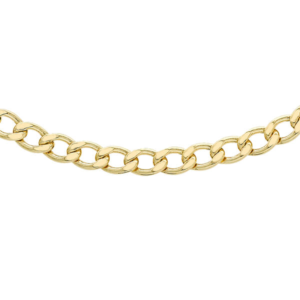 Hatton Garden Close Out 9K Yellow Gold Curb Necklace (Size 18) 3.70 Gm Wt.