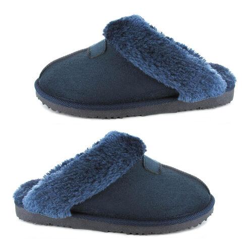 Ella Jill Supersoft Faux Fur Mule Slipper (Size 3) - Navy