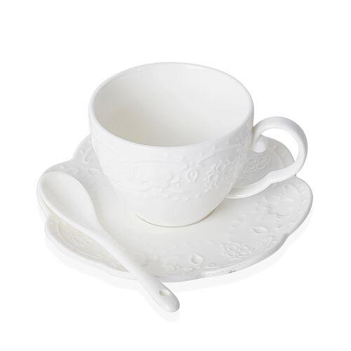 Art Deco-Set of 22 - Butterfly Embossed Porcelain Tea Set (Consists of 6 Cups, 6 Saucers, 7 Spoons, 1 Sugar Bowl, 1 Milk Bowl, 1 Tea Pot)