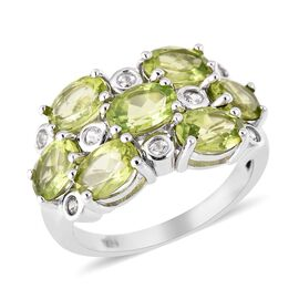 6.25 Ct Hebei Peridot and Zircon Cluster Ring in Rhodium Plated Sterling Silver