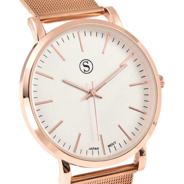 Personalised Engravable STRADA Japanese Movement Watch with Rose Tone and Rose mesh Strap