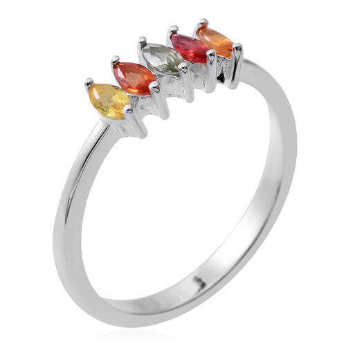 Rainbow Sapphire (Mrq) 5 Stone Ring in Rhodium Plated Sterling Silver 0.530 Ct.