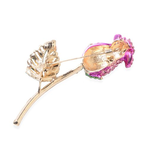 Pink Sapphire Colour Multi Colour Austrian Crystal (Rnd) Rose Bud Brooch in Yellow Tone