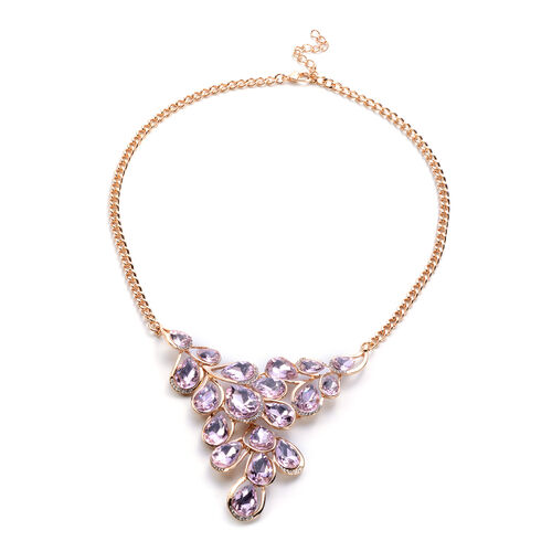 2 Piece Set - Simulated Rose Quartz and White Austrian Crystal Necklace (Size 22 with Extender) and Hook Earrings in Gold Tone