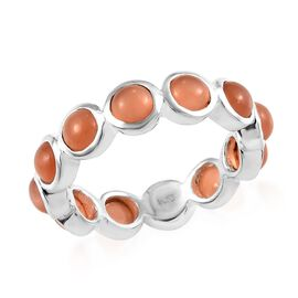 Peach Moonstone (Rnd) Eternity Band Ring in Sterling Silver 3.50 Ct.