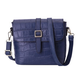 100% Genuine Leather Croc Pattern Crossbody Bag (20x9.5x18cm) - Blue