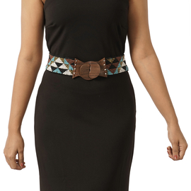Stretchable Seed Bead Belt in Wooden Buckle - Multi