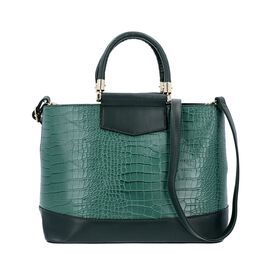 Green Croc Embossed Tote Bag with Adjustable Shoulder Strap (Size 34x12x25 Cm)